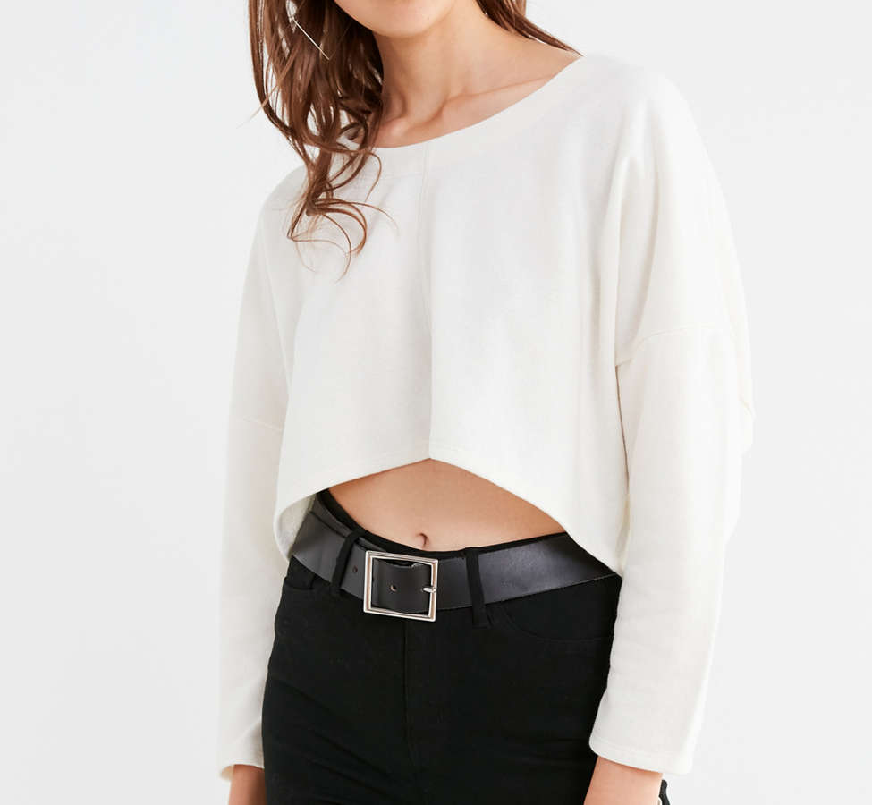 Slide View: 6: Truly Madly Deeply Roxy Cropped Pullover Tee