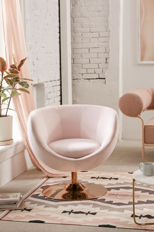Copper Futuristic Curved Swivel Chair