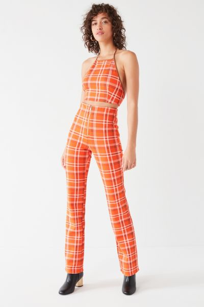 I.AM.GIA Polaris High-Rise Plaid Pant - Orange XS at Urban Outfitters