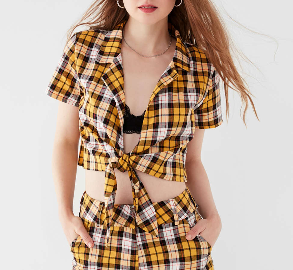 Slide View: 1: I.AM.GIA Keidis Tie-Front Plaid Top