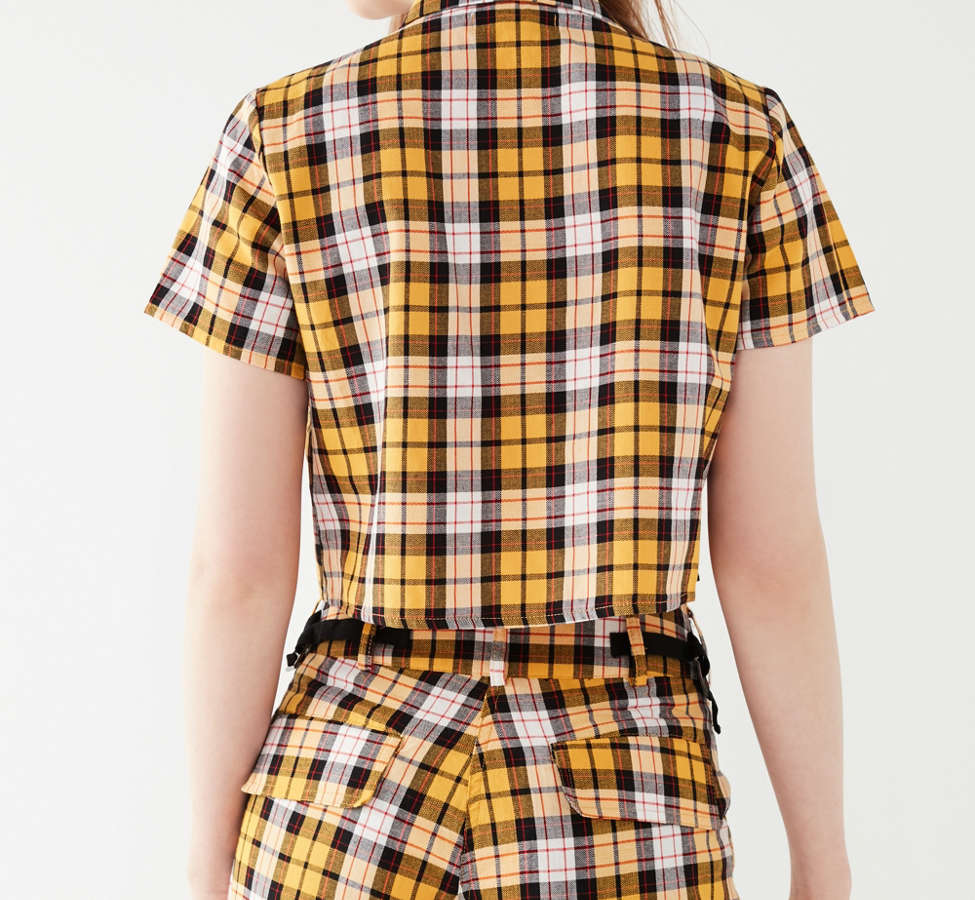 Slide View: 2: I.AM.GIA Keidis Tie-Front Plaid Top