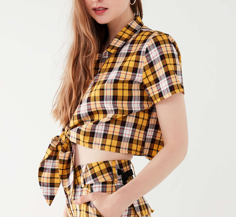 Slide View: 3: I.AM.GIA Keidis Tie-Front Plaid Top