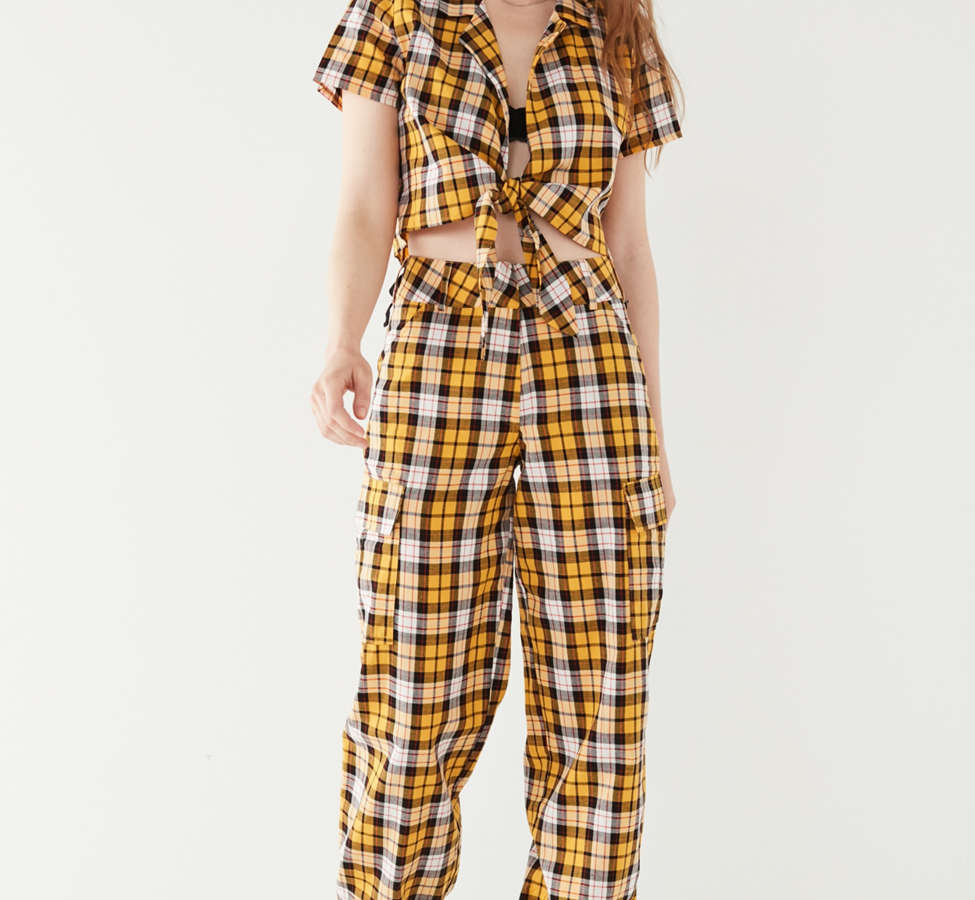 Slide View: 4: I.AM.GIA Keidis Tie-Front Plaid Top