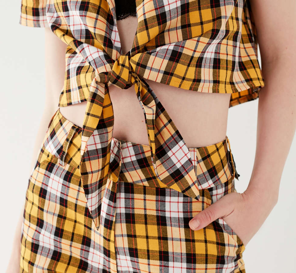 Slide View: 5: I.AM.GIA Keidis Tie-Front Plaid Top