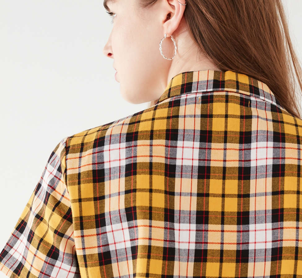 Slide View: 6: I.AM.GIA Keidis Tie-Front Plaid Top