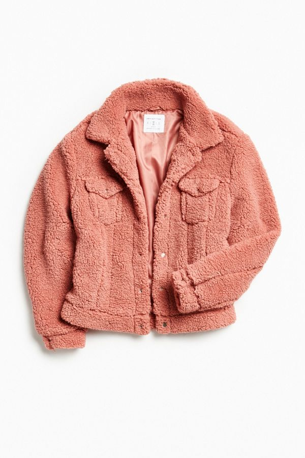 UO Sherpa Exterior Trucker Jacket   Urban Outfitters