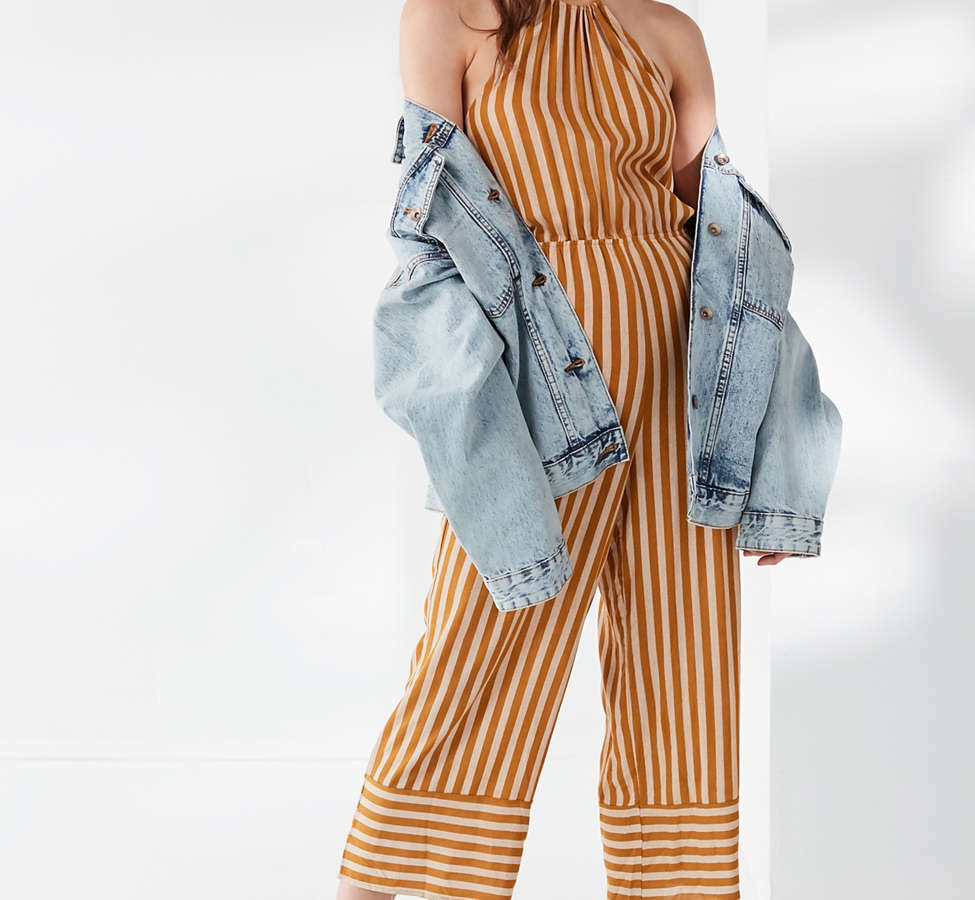 Slide View: 1: UO Striped Halter Jumpsuit