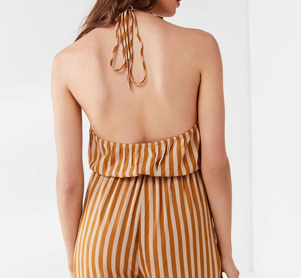 Slide View: 4: UO Striped Halter Jumpsuit