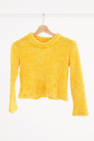 Vintage '90s Yellow Fuzzy Cropped Sweater - Assorted One Size at Urban Outfitters