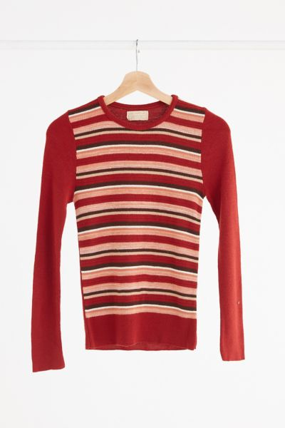 Vintage '70s Lightweight Rust Striped Sweater - Assorted One Size at Urban Outfitters
