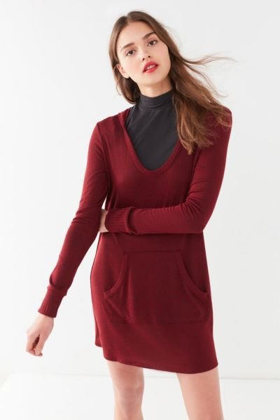 UO Cozy Hoodie Mini Dress - Maroon XS at Urban Outfitters