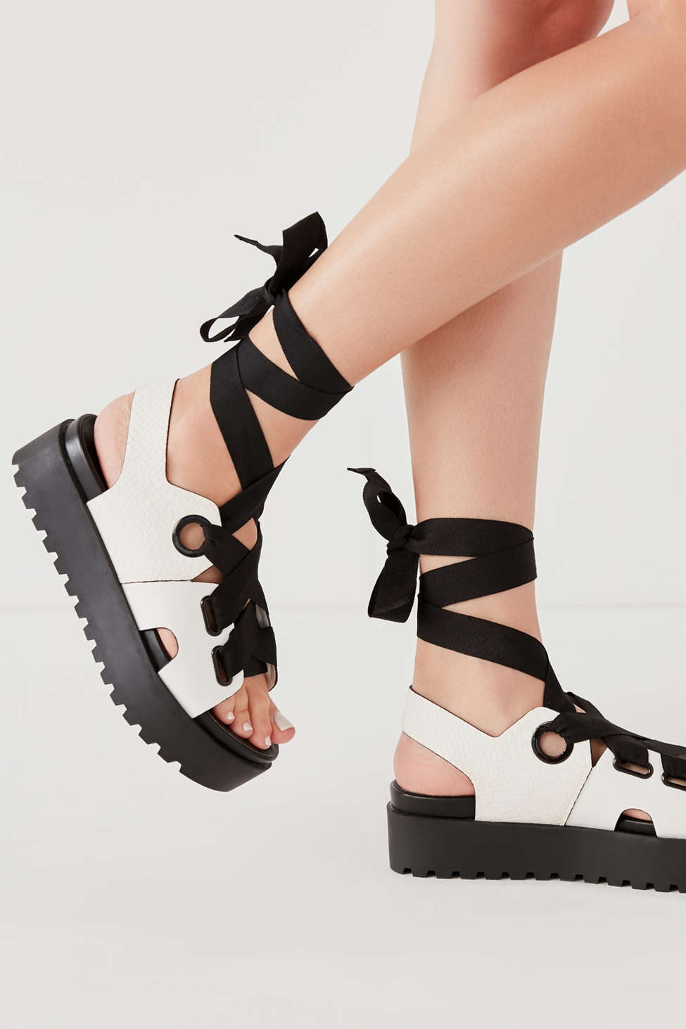 Cameron Ribbon Lace-Up Platform Sandal