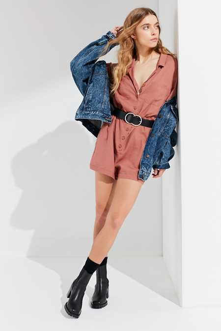 UO Out + About Linen Shirt Romper