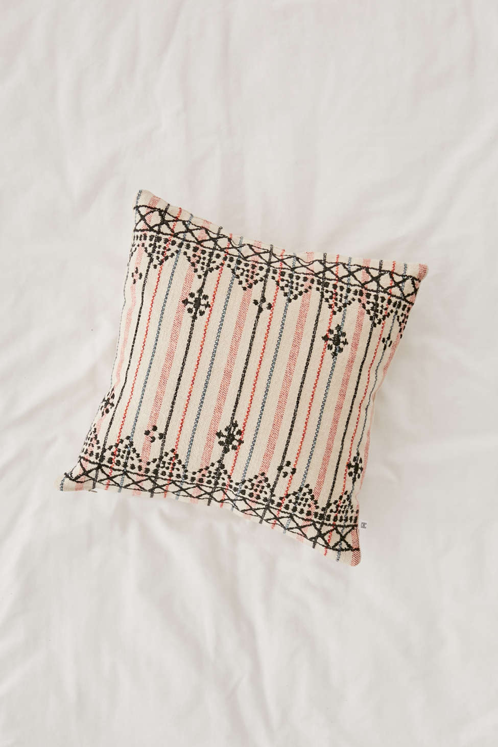 Slide View: 1: Mina Embroidered Lurex Stripe Pillow