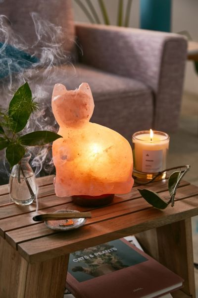Cat Himalayan Salt Lamp - Peach One Size at Urban Outfitters