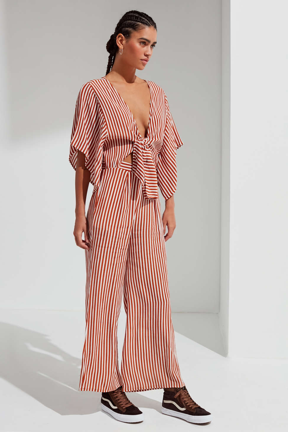 Faithfull The Brand Tilos Tie Front Striped Jumpsuit Urban Outfitters