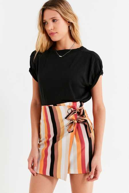 UO Grommet-Tie Striped Wrap Mini Skirt