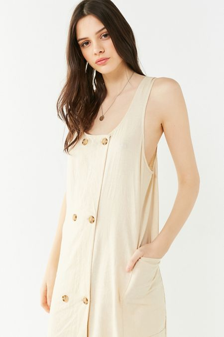 Uo Delia Double Ted Linen Midi Dress