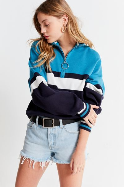 UO Oversized Striped Half-Zip Sweater - Blue Multi XS at Urban Outfitters