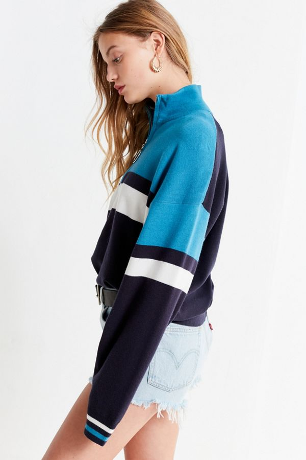 Uo Oversized Striped Half Zip Sweater Urban Outfitters