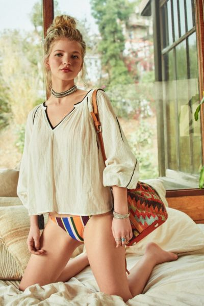 UO Wild Horses Tassel Blouse - Cream XS at Urban Outfitters