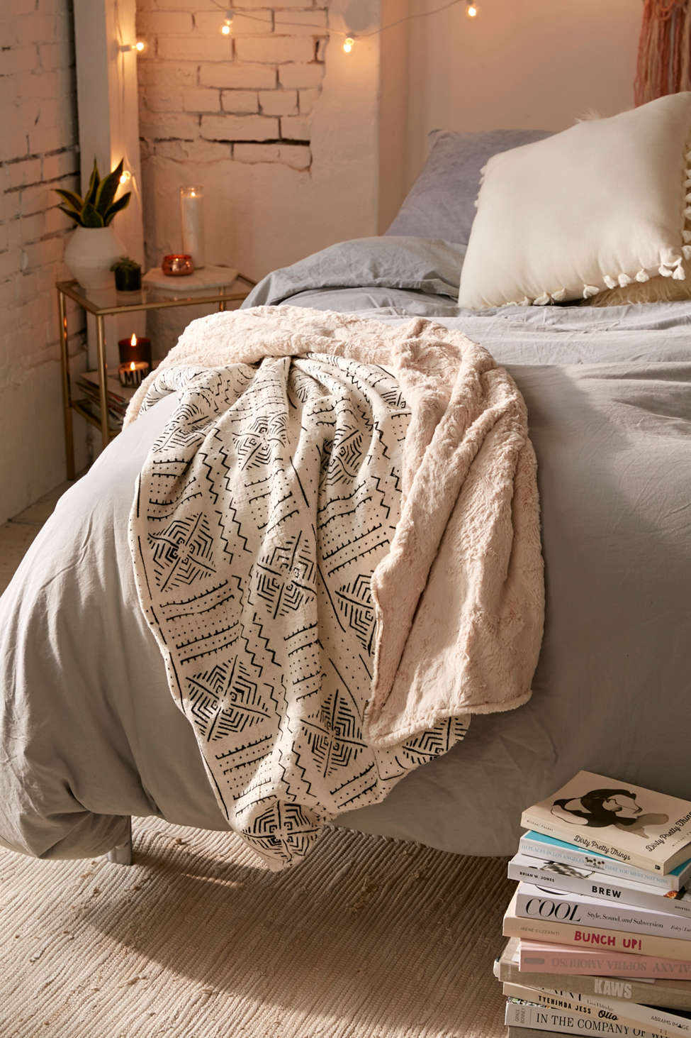 Slide View: 1: Cozy Nomad Mudcloth Faux Fur Throw Blanket