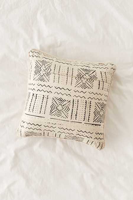 Cozy Nomad Mudcloth Faux Fur Throw Pillow
