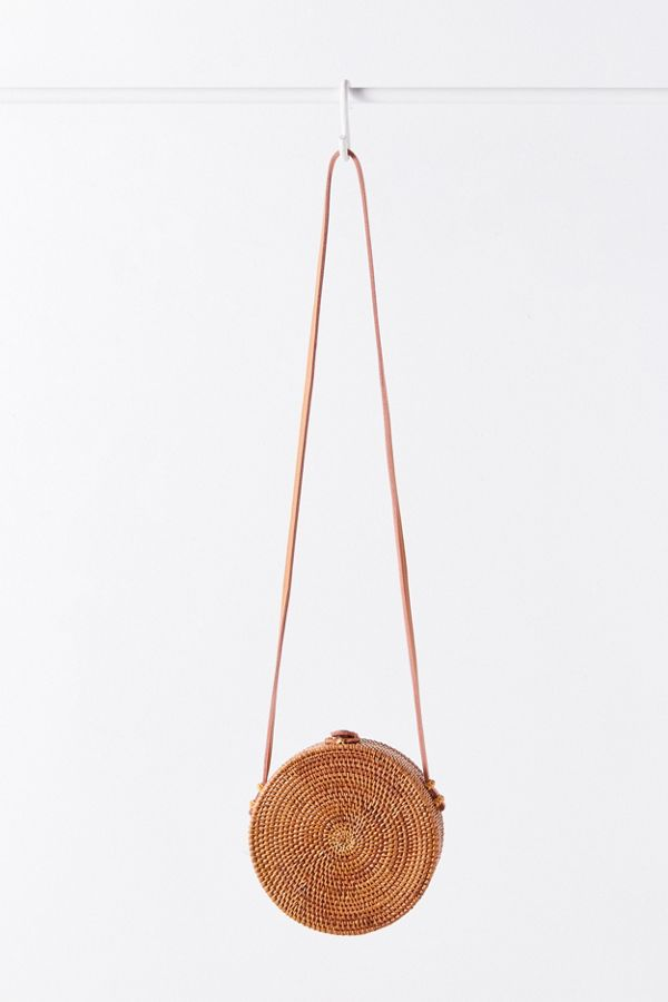 Slide View: 5: Circle Straw Crossbody Bag