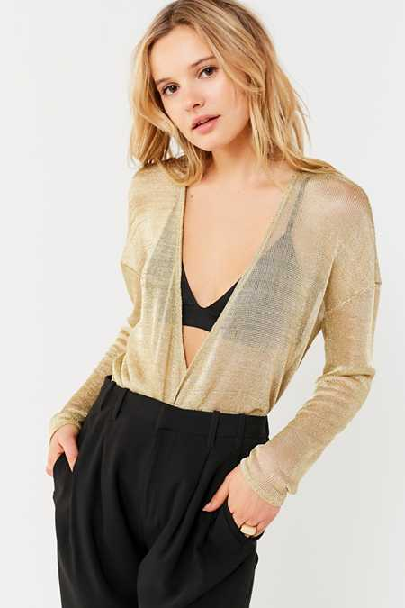 UO Bianca Metallic Surplice Top