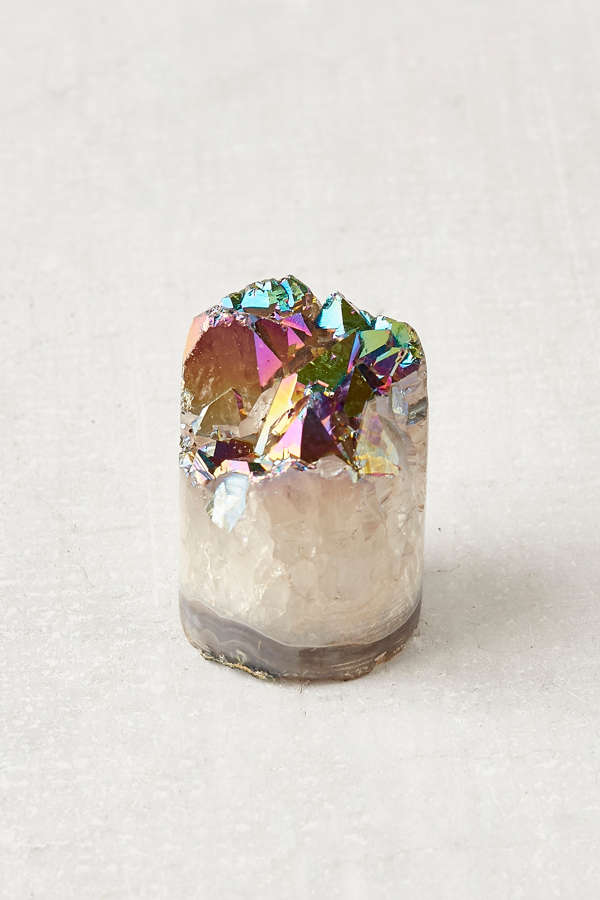 Rainbow Aura Quartz Crystal Sculpture