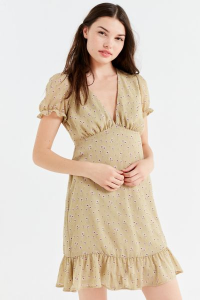 UO Empire Waist Puff-Sleeve Mini Dress - Green Multi XS at Urban Outfitters