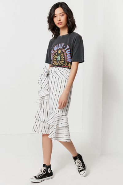 UO Waterfall Ruffle Midi Skirt - Neutral Multi XS at Urban Outfitters