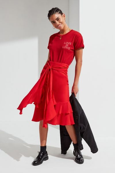 UO Waterfall Ruffle Midi Skirt - Red XS at Urban Outfitters
