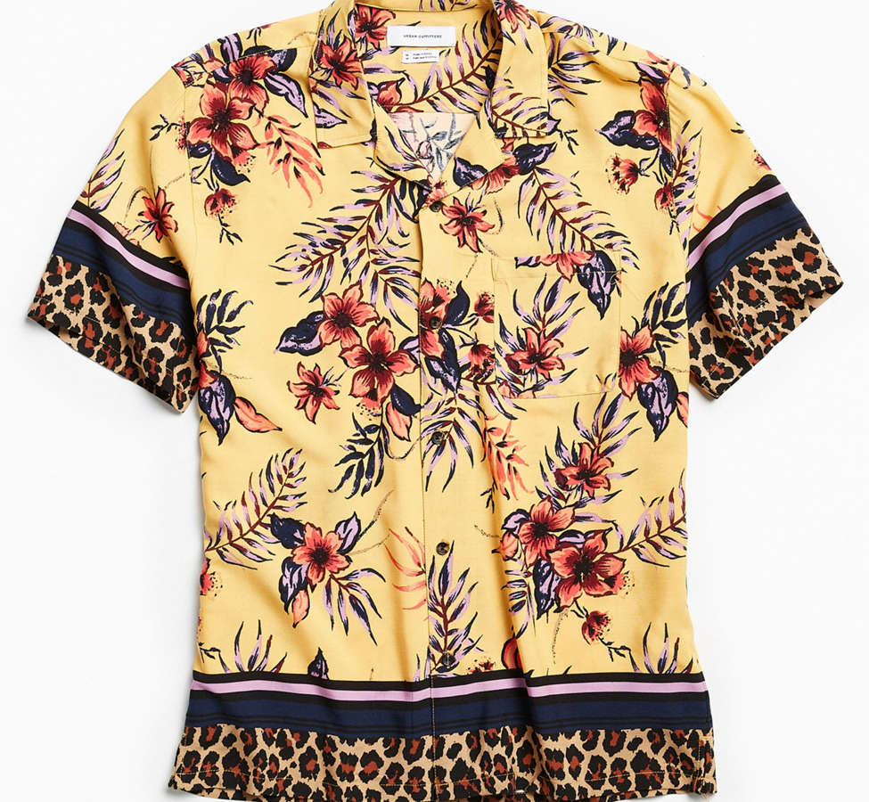 Slide View: 2: UO Floral + Leopard Rayon Short Sleeve Button-Down Shirt