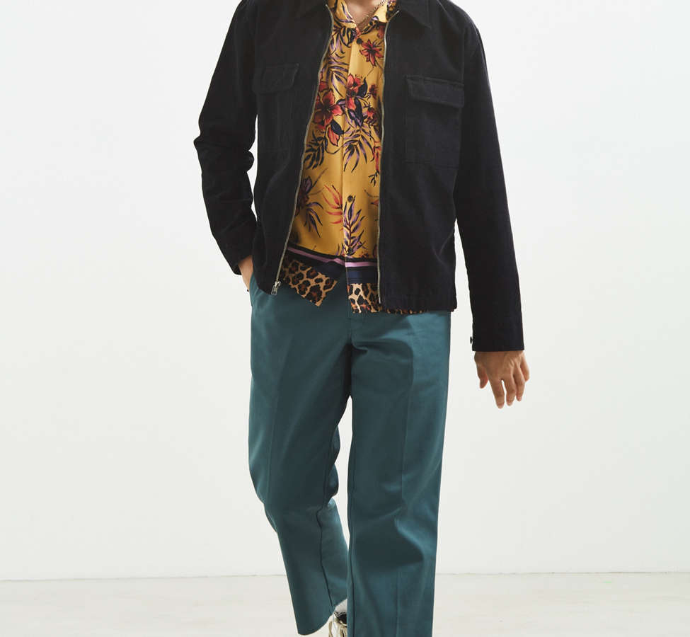 Slide View: 6: UO Floral + Leopard Rayon Short Sleeve Button-Down Shirt