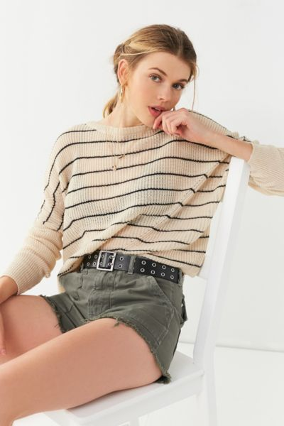 UO Striped Pullover Sweater - Black Multi XS at Urban Outfitters
