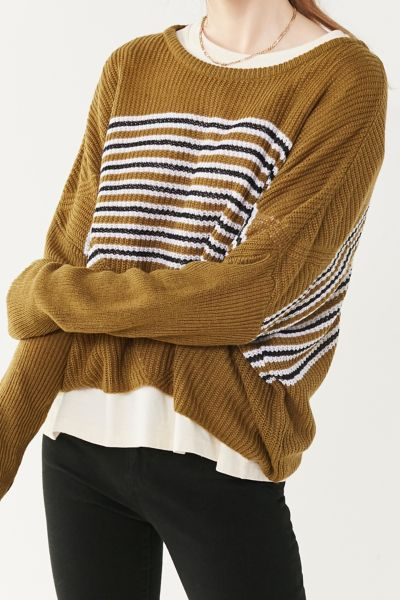 UO Striped Pullover Sweater - Green Multi XS at Urban Outfitters