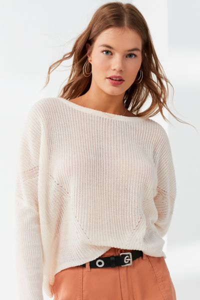 UO Striped Pullover Sweater - Pink XS at Urban Outfitters