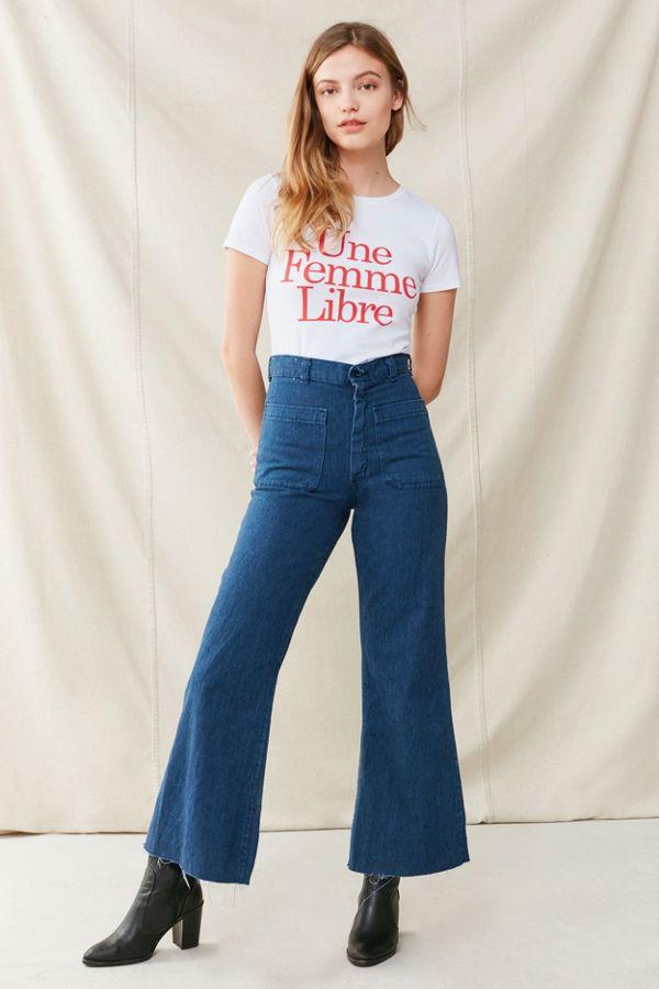 Slide View: 1: Vintage Sailor High-Rise Flare Jean