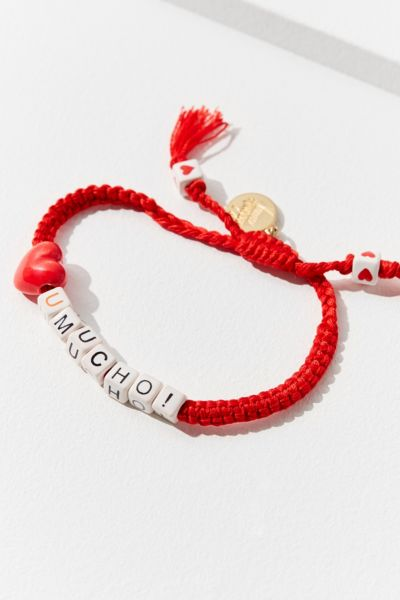 Venessa Arizaga Love You Mucho Beaded Bracelet - Red One Size at Urban Outfitters