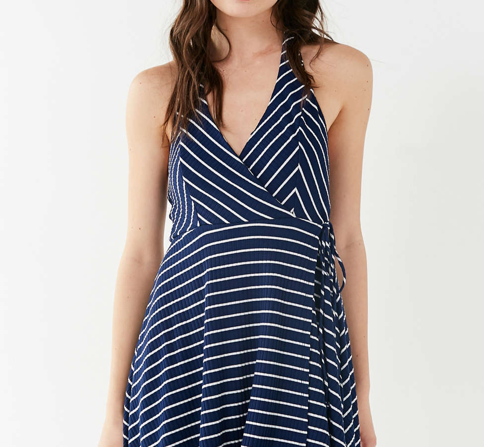 Slide View: 1: UO Stripe Ribbed Knit Halter Wrap Dress