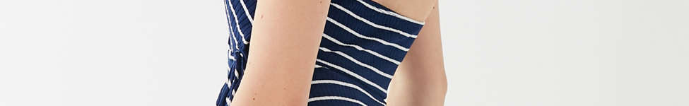 Thumbnail View 2: UO Stripe Ribbed Knit Halter Wrap Dress