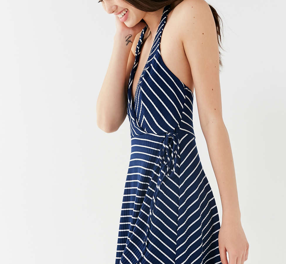 Slide View: 5: UO Stripe Ribbed Knit Halter Wrap Dress