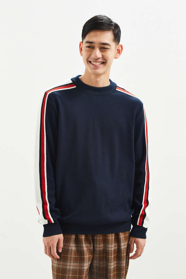 UO Navy Taped Sweater | Urban Outfitters