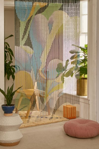 Floral Bloom Bamboo Beaded Curtain - Multi One Size at Urban Outfitters