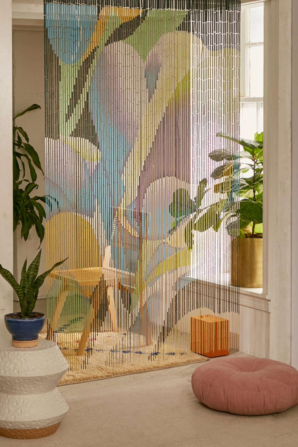 Slide View: 1: Floral Bloom Oversized Bamboo Beaded Curtain