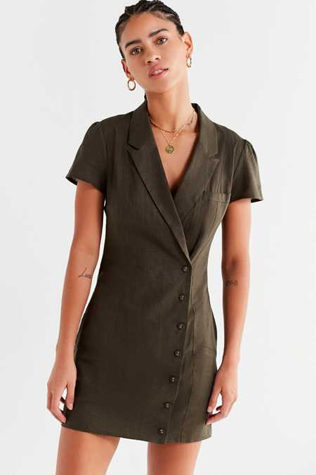 UO Clementine Double-Breasted Collared Dress