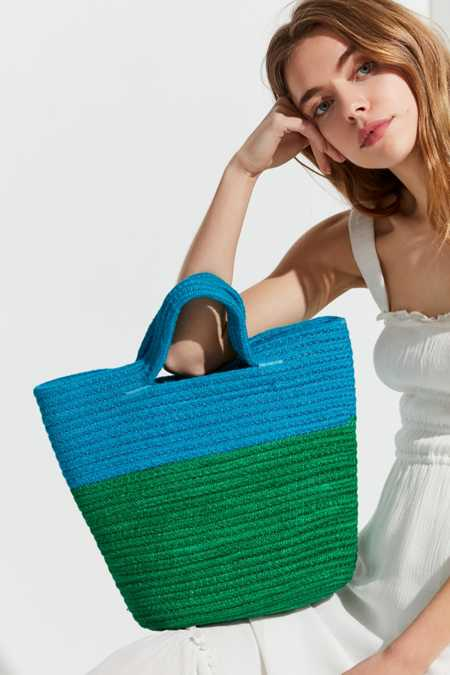 Stitched Cord Colorblocked Tote Bag