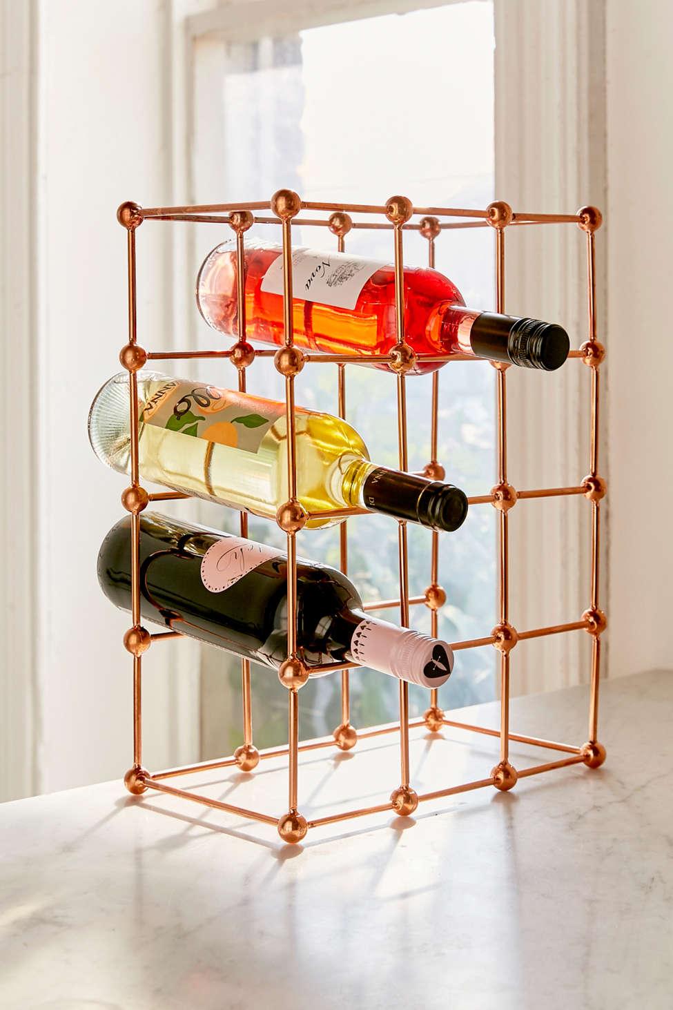 Slide View: 1: Rose Gold Wine Rack