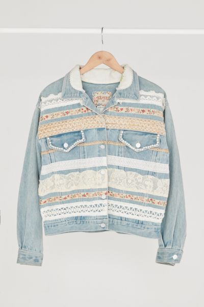 Vintage '90s Customized Lace Denim Jacket - Assorted One Size at Urban Outfitters